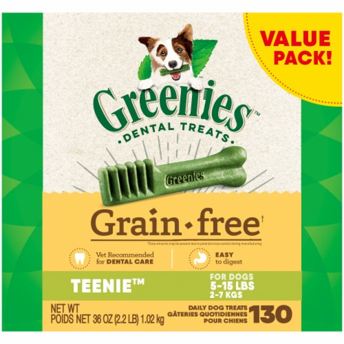 Greenies Grain Free Teenie Dog Dental Treats Value Pack Perspective: front