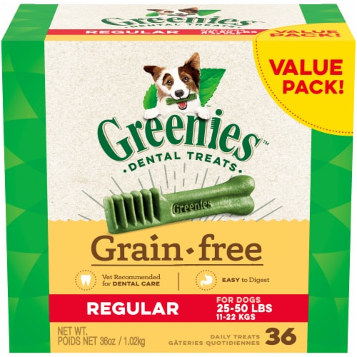 Greenies Grain Free Regular Dog Dental Treats Value Pack Perspective: front