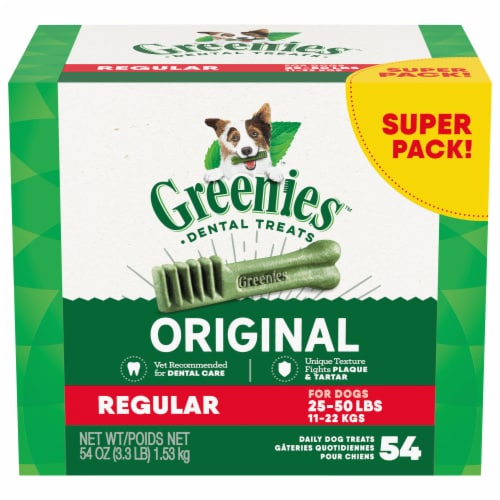Greenies Original Regular Sized Dog Dental Treats Super Pack Perspective: front