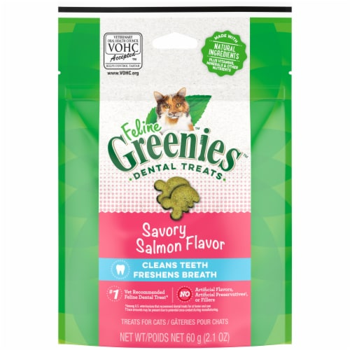 Feline Greenies Savory Salmon Flavor Dental Treats for Cats Perspective: front