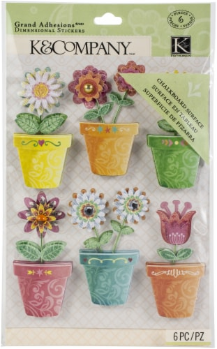 Brenda Walton Grand Adhesions Dimensional Stickers 6/Pkg-Flower Pots Perspective: front