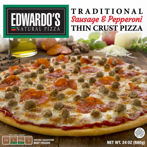 Edwardo's Sausage & Pepperoni Thin Crust Pizza Perspective: front