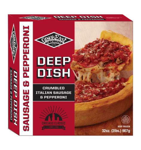 Gino's East of Chicago Sausage & Uncured Pepperoni Deep Dish Pizza Perspective: front
