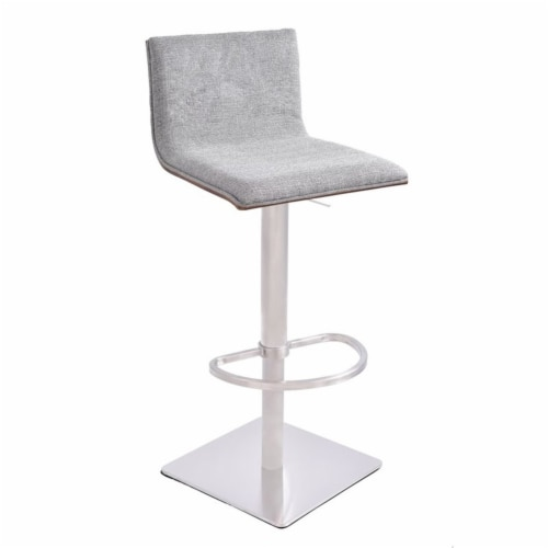 Crystal Barstool in Brushed Stainless Steel finish with Gray Fabric and Walnut Back Perspective: front