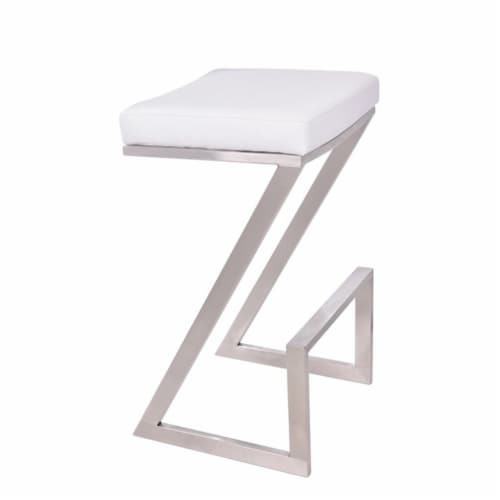 Armen Living Atlantis 30  Faux Leather Bar Stool in White Perspective: front