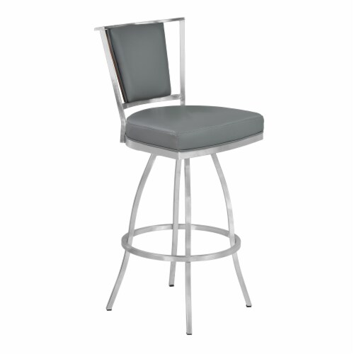 30  Barstool in Gray Faux Leather with Brushed Stainless Steel Finish and Walnut Veneer Back Perspective: front