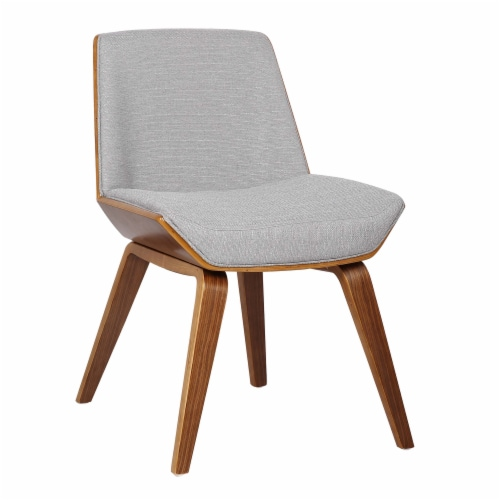 Armen Living Agi Mid-Century Dining Chair in Walnut Wood and Gray Fabric Perspective: front