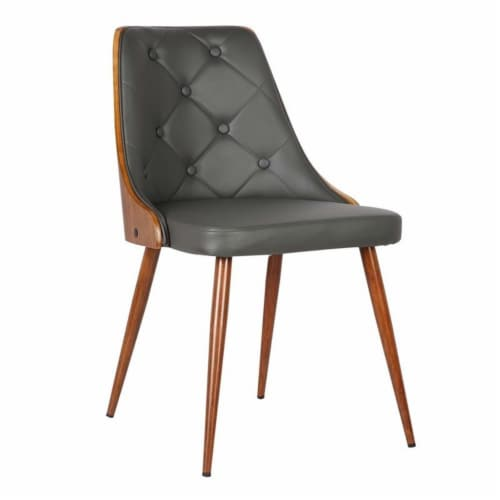 Armen Living Lily Dining Chair in Walnut and Gray Perspective: front