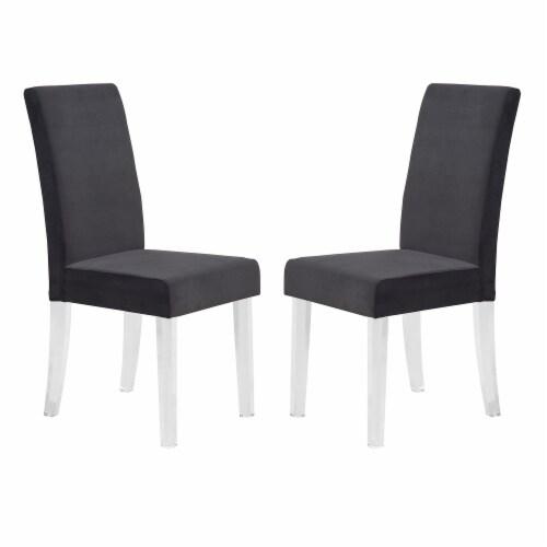 Armen Living Dalia Velvet Upholstered Dining Chair in Black (Set of 2) Perspective: front