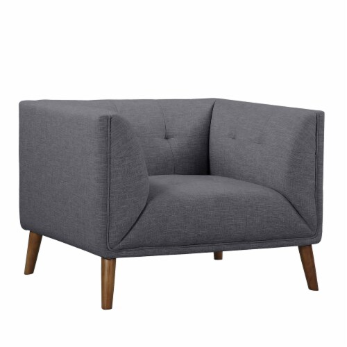 Armen Living Hudson Button-Tufted Chair in Dark Gray Perspective: front