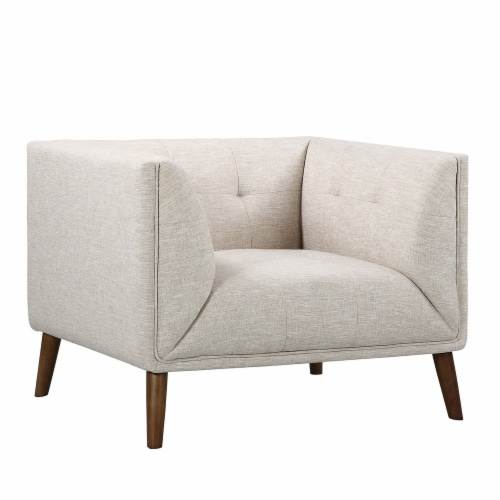 Armen Living Hudson Mid-Century Button-Tufted Chair in Beige Linen and Walnut Legs Perspective: front