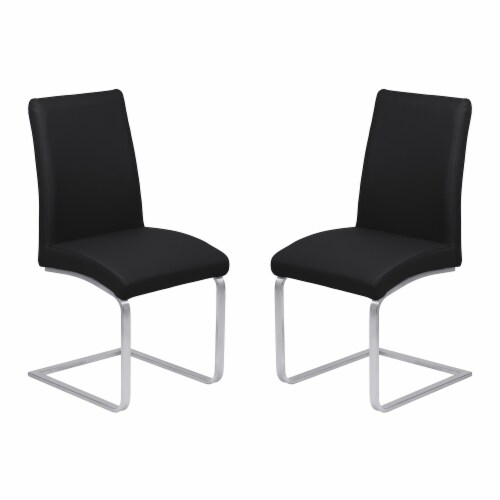 Blanca Dining Chair in Black Faux Leather with Brushed Stainless Steel Finish - Set of 2 Perspective: front