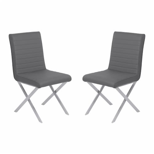 Tempe Dining Chair in Gray Faux Leather with Brushed Stainless Steel Finish - Set of 2 Perspective: front