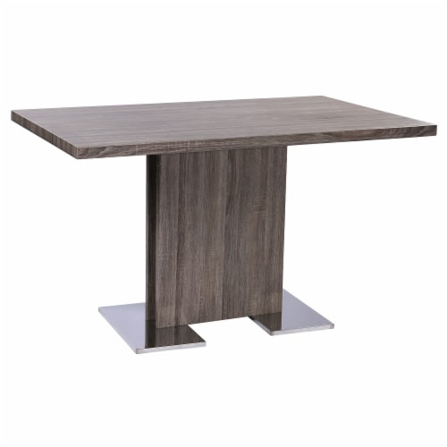 Zenith Dining Table with Brushed Stainless Steel Base and Gray Walnut Veneer Finish Perspective: front