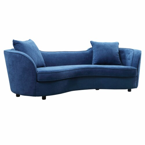 Armen Living Palisade Contemporary Sofa in Blue Velvet with Brown Wood Legs Perspective: front