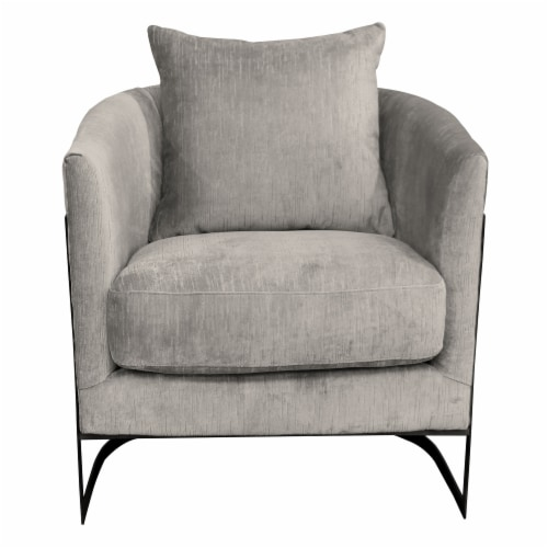 Armen Living Swan Contemporary Accent Chair with Black Iron Finish and Beige Fabric Perspective: front
