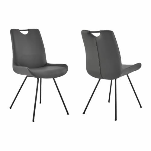 Armen Living Coronado Faux Leather Dining Side Chair (Set of 2) Perspective: front