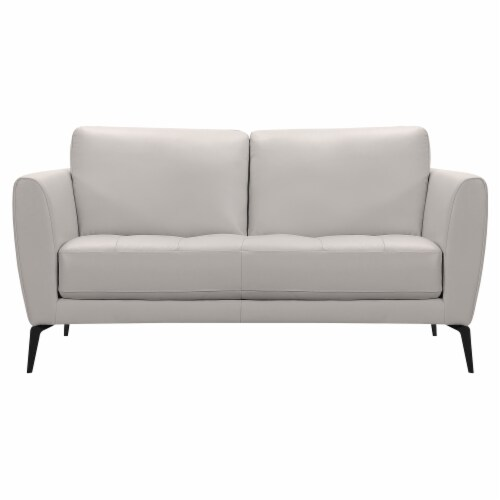 Armen Living Hope Contemporary Loveseat in Genuine Dove Grey Leather with Black Metal Legs Perspective: front