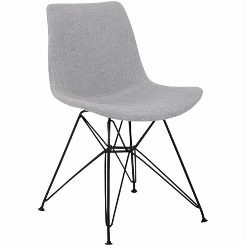 Armen Living Palmetto Upholstered Dining Side Chair in Gray Perspective: front