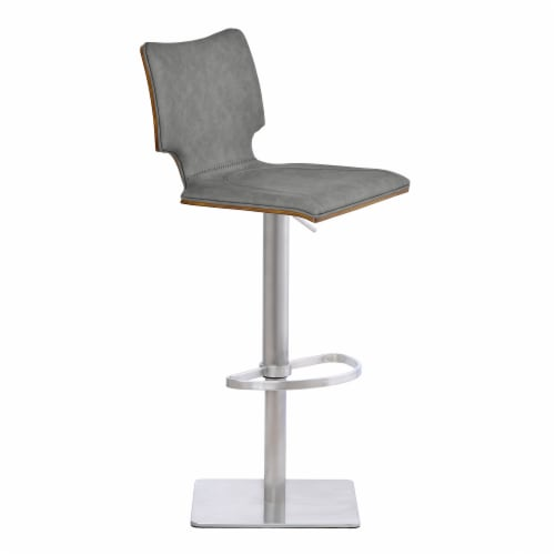 Barstool in Brushed Stainless Steel with Vintage Grey Faux Leather and Walnut Wood Back Perspective: front
