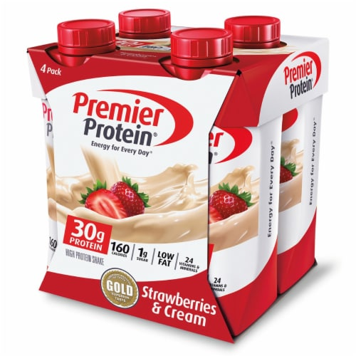 Premier Protein Strawberries & Cream Protein Shakes Perspective: front