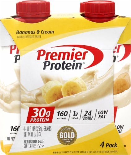 Premier Protein Bananas & Cream Shakes Perspective: front