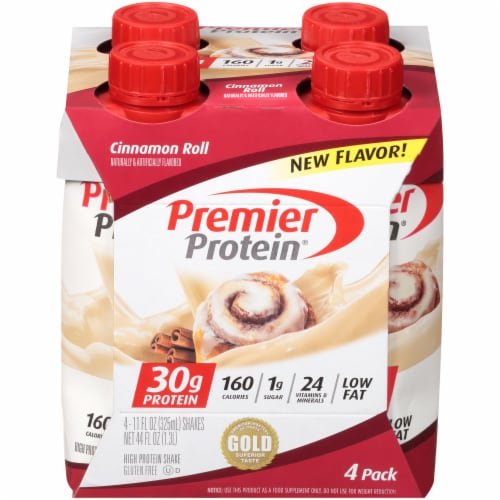 Premier Protein Cinnamon Roll Protein Shakes Perspective: front
