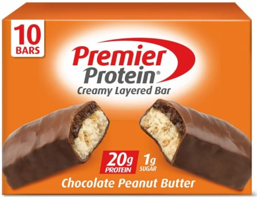 Premier Protein Chocolate Peanut Butter Bar 10 Count Perspective: front