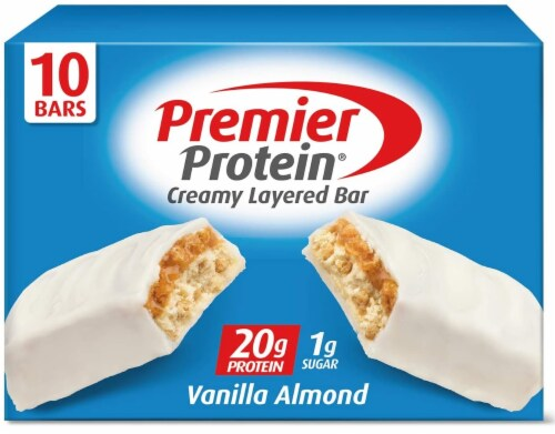 Premier Protein Vanilla Almond Bar 10 Count Perspective: front