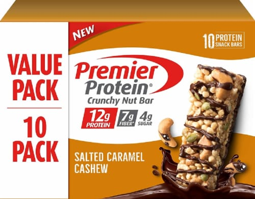 Premier Protein Salted Caramel Cashew Crunchy Nut Bars 10 Count Perspective: front