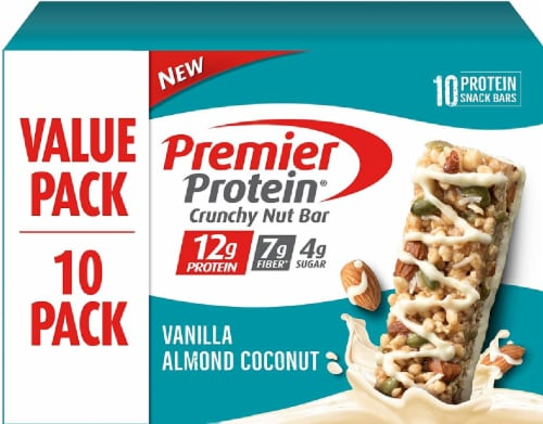 Premier Protein Vanilla Almond Coconut Crunchy Nut Bars 10 Count Perspective: front