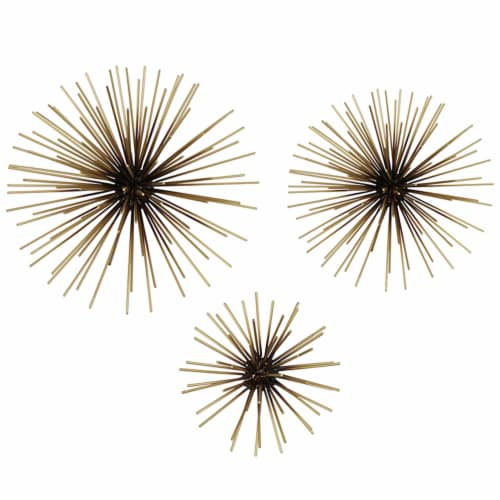 Stratton Home Decor Modern Metallic Starburst Accent Wall Art, Set of 3, Gold Perspective: front