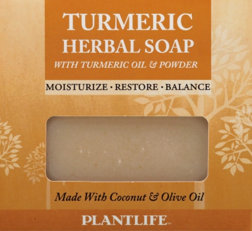 Plantlife Turmeric Herbal Soap with Turmeric Oil and Powder Perspective: front