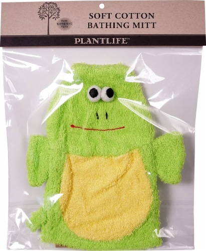 Plantlife Ramie Soft Cotton Bathing Mitt Frog Perspective: front