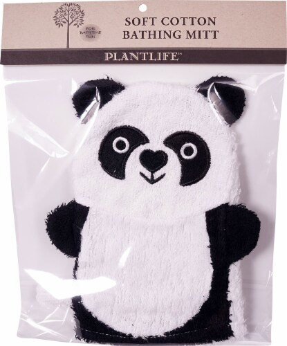 Plantlife Ramie Soft Cotton Bathing Mitt Panda Perspective: front