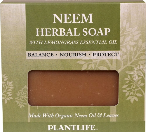 Plantlife Neem Herbal Soap with Lemongrass Essential Oil Perspective: front