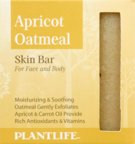 Plantlife Apricot Oatmeal Skin Bar Soap for Face and Body Perspective: front