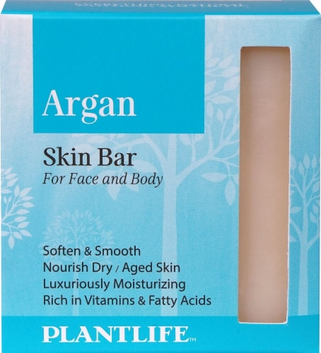 Plantlife Argan Skin Bar Soap for Face and Body Perspective: front