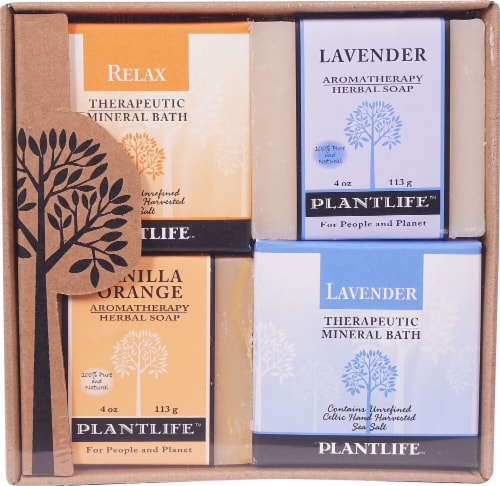 Plantlife Relax Therapeutic Mineral Bath Salt Top Combo Soap Perspective: front