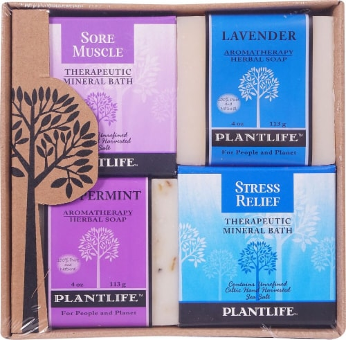 Plantlife Sore Muscle Detox Relax & Stress Therapeutic Mineral Bath Salt Top Soap Combo Perspective: front