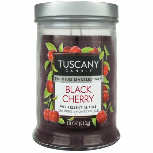 Tuscany Black Cherry Scented Jar Candle Perspective: front