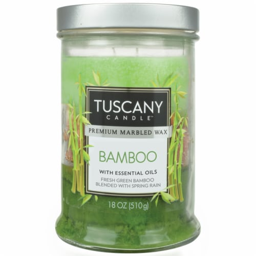 Tuscany Bamboo Glass Jar Candle Perspective: front
