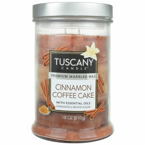 Tuscany Candle Cinnamon Coffee Cake Scented Triple Pour Jar Candle Perspective: front