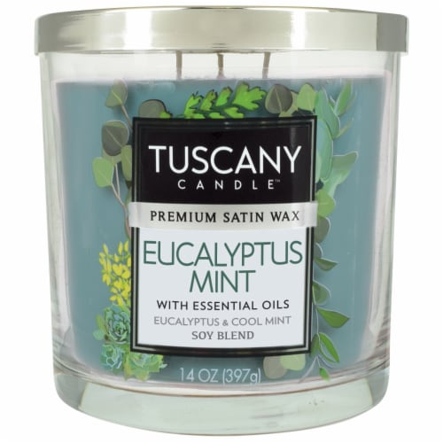 Tuscany Candle Eucalyptus Mint Scented Jar Candle - Green Perspective: front
