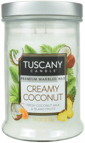 Tuscany Candle Creamy Coconut Jar Candle Perspective: front