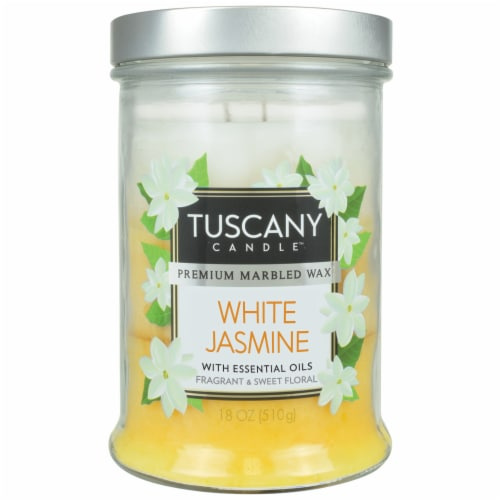 Tuscany White Jasmine Scented Jar Candle Perspective: front