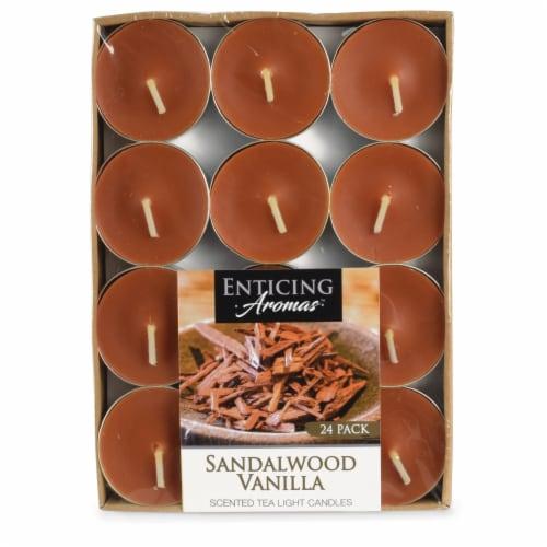 Enticing Aromas Sandalwood Vanilla Scented Tea Light Candles - Orange Perspective: front