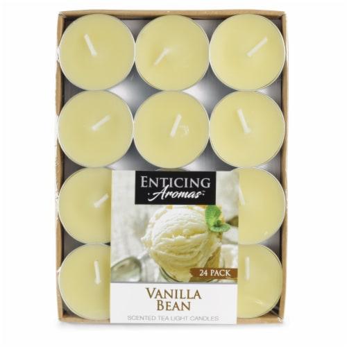 Enticing Aromas Vanilla Bean Scented Tea Light Candles - Cream Perspective: front