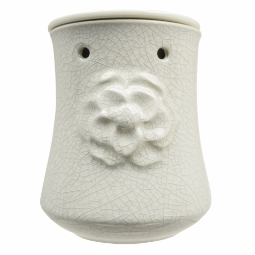 Tuscany Candle Flower Design Wax Warmer - White Perspective: front