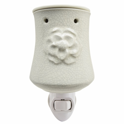 Tuscany Candle Flower Design Outlet Wax Warmer - White Perspective: front